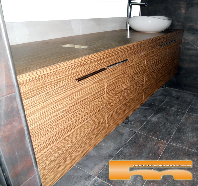 Medidas Baño De Servicio:Mueble de baño a medida realizado en Melamina de color Zebrano con