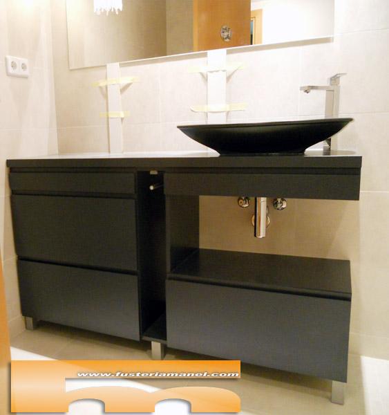 Medidas Baño De Servicio:Mueble baño lacado Negro a medida