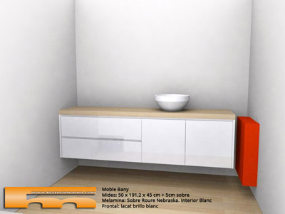 Mueble ba o a medida suspendido laca brillo jordi barcelona 3d - Muebles en cerdanyola ...