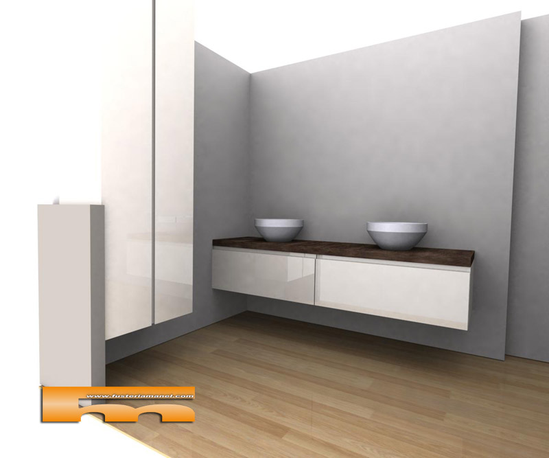 Medidas Baño De Servicio:Mueble de baño con Armario a medida suspendidos Lacado Brillo