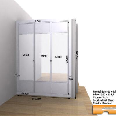 Frontal armario Empotrado a medida con espejo lacado con moldura 3d natalia barcelona
