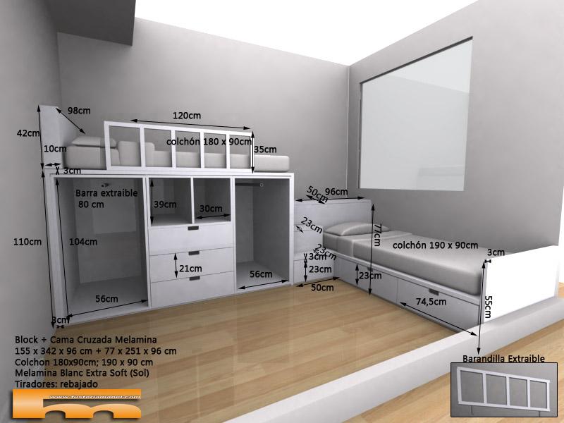 Habitacion-infantil-compartida-con-cama-block-y-cama-cajones_cruzada_escalera_cajones_3d_barandilla_Montse_Sant-Cugat-del-Valle