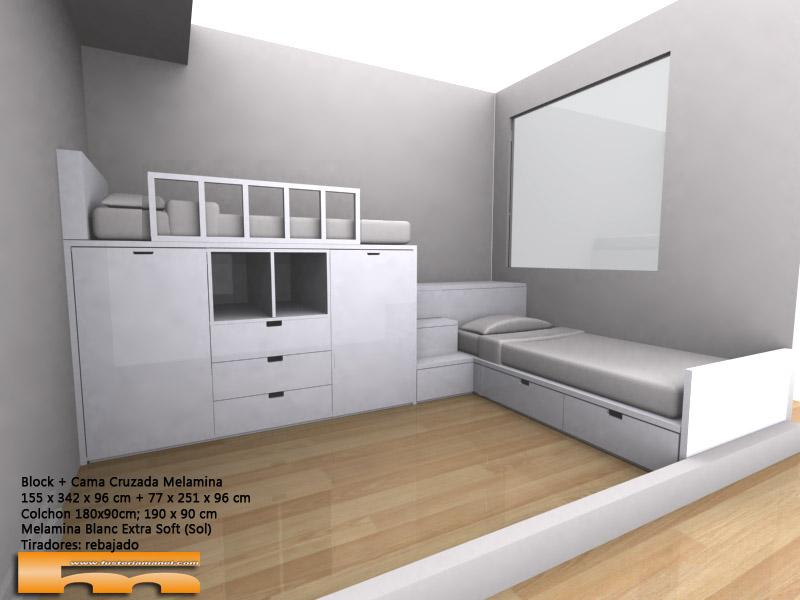 Habitacion infantil compartida con cama block y cama cajones_cruzada_escalera_cajones_3d_gral_Montse_Sant Cugat del Valles