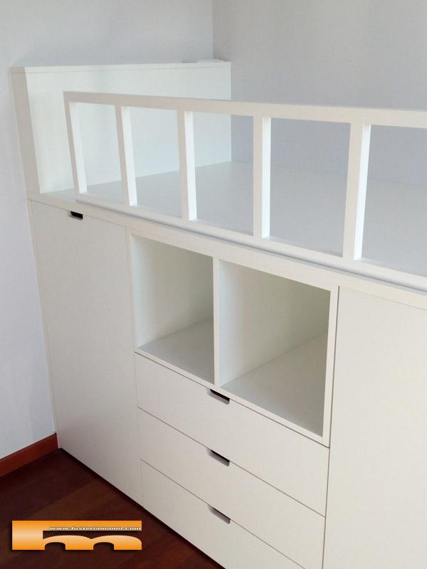 Habitacion infantil compartida con cama block_escalera_cajones_Montse_Sant Cugat del Valles