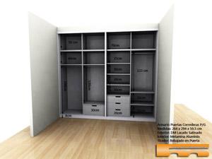armario 4 correderas lacado a medida Gemma Barcelona 3d interior