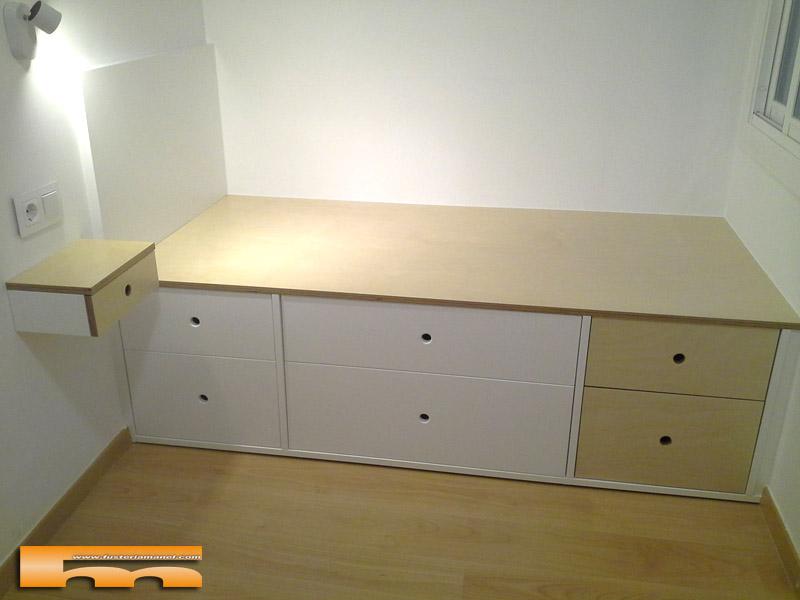 cama compacta cajones 1 a medida lacado habitacion infantil juvenil mix haya Armonia Barcelona