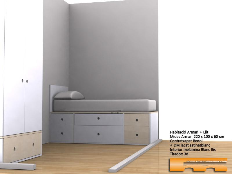 cama compacta cajones a medida lacado habitacion infantil juvenil mix haya 3d Armonia Barcelona
