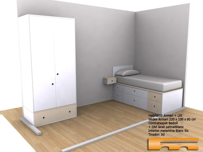 cama compacta cajones a medida lacado habitacion infantil juvenil mix haya 3d gral Armonia Barcelona