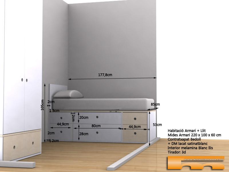 cama compacta cajones a medida lacado habitacion infantil juvenil mix haya 3d mides Armonia Barcelona