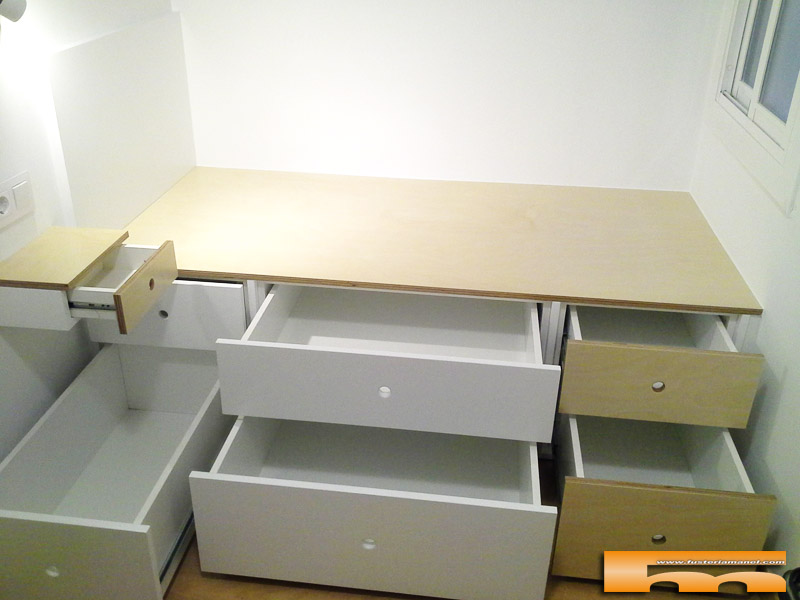 cama compacta cajones a medida lacado habitacion infantil juvenil mix haya Armonia Barcelona