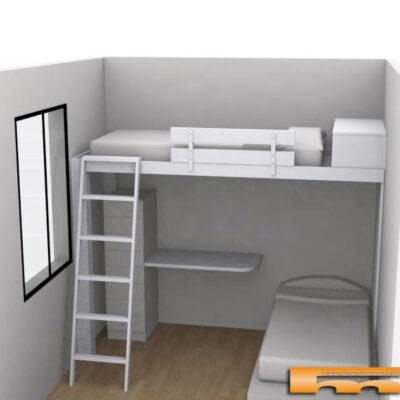 cama alta habitacion compartida infantil Chus Barcelona 3d