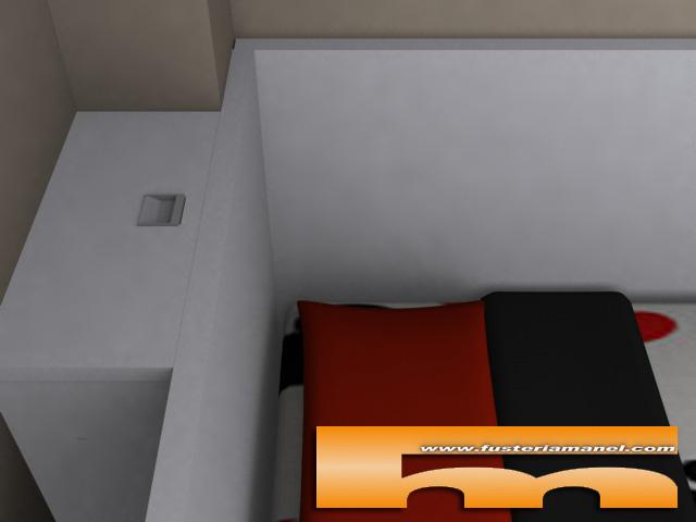 cama con cajones inferiores doble a medida barcelona 3d_detalle tirador