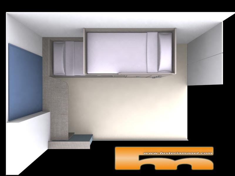 distribucion habitacion juvenil cama tren a medida barcelona 3d