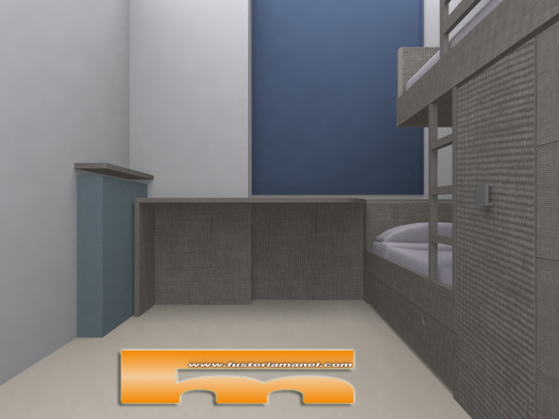 esritorio habitacion juvenil cama tren a medida barcelona 3d