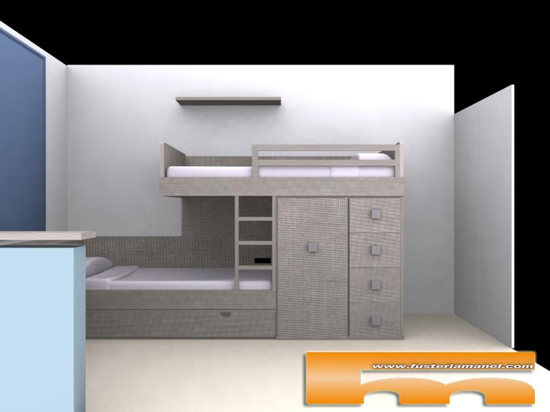 habitacion juvenil cama tren a medida barcelona 3d