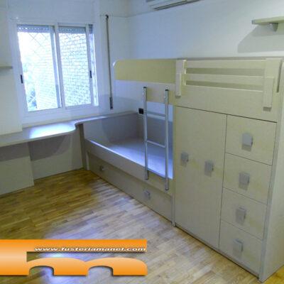 habitacion juvenil cama tren a medida barcelona