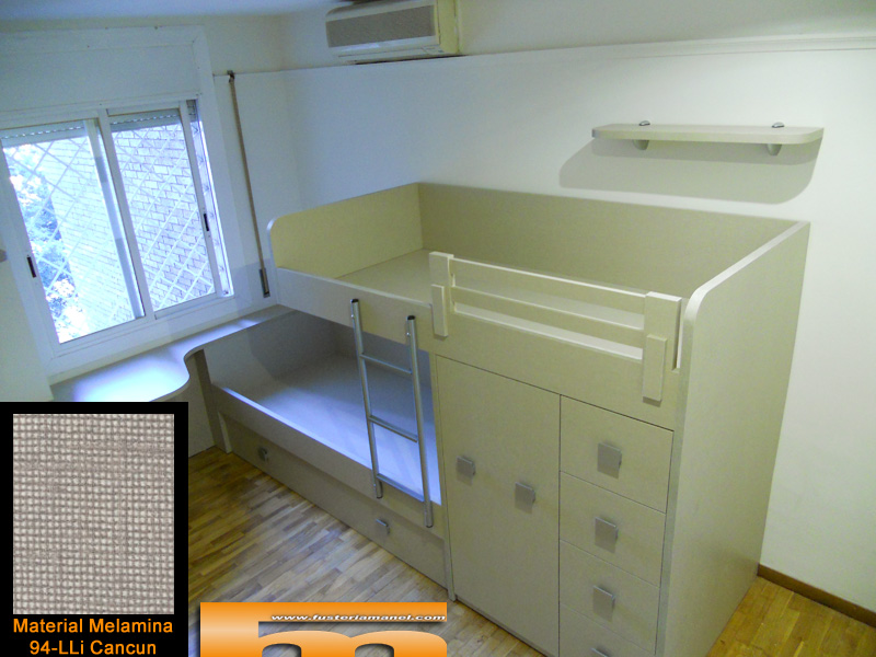 habitacion juvenil cama tren con escritorio a medida melamina barcelona