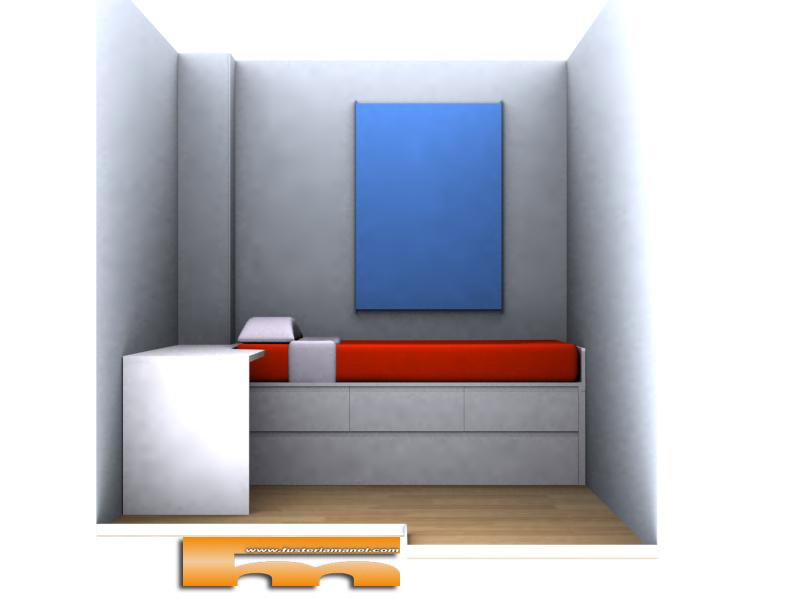 habitacion-lacada-cama-nido-escritorio-3d