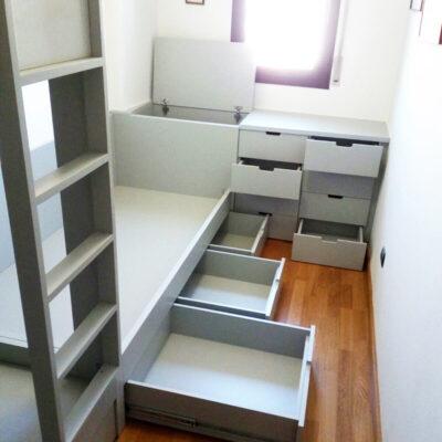 Litera y Cama 14 Cajones Habitación Triple Infantil | Terrassa | Judith