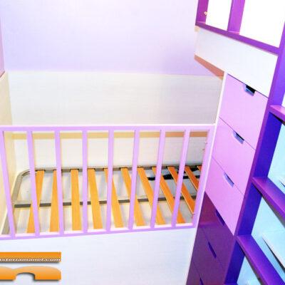 Litera Cruzada en Habitación Infantil Compartida con Cuna y Cama Alta | Laura | Vallirana