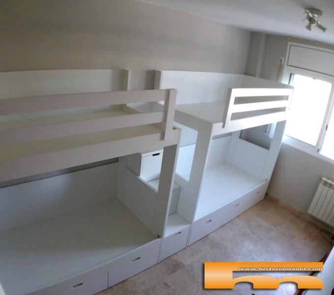 Litera Cuadruple Habitación Infantil Escalera Cajones   Carlos   Barcelona