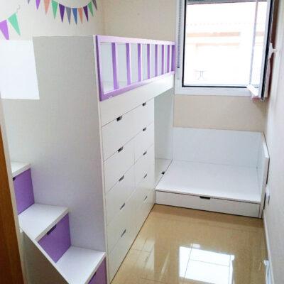 Habitación Infantil: Litera Tren cruzada con cajones inferiores + Escalera Lateral de cajones | Roser | Barcelona