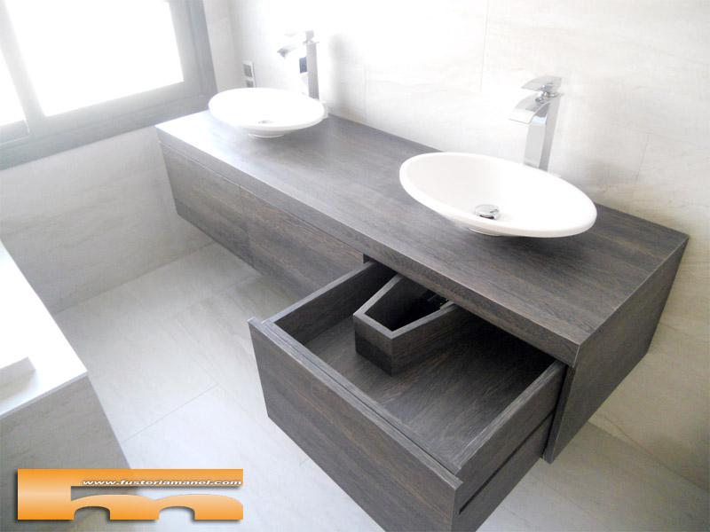 mueble baño suspendido cajones cerdanyola marta doble cajón oculto sifon