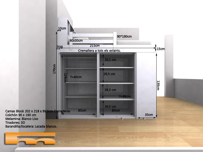 Habitacion gemelos camas alta con armario inferior 3d Barcelona