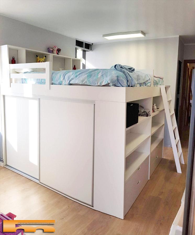 Habitacion gemelos camas alta con armario inferior Barcelona