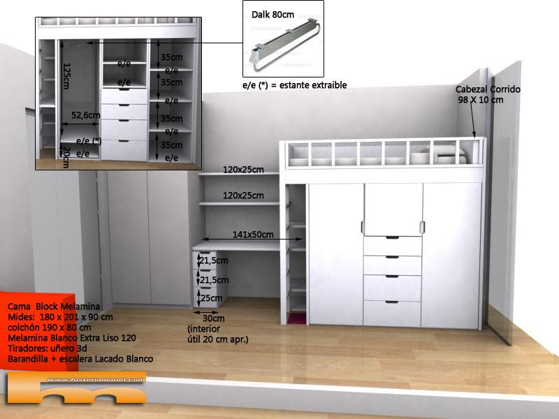 cama block a medida con zona estudio habitacion infantil_3d_Jorge_Barcelona