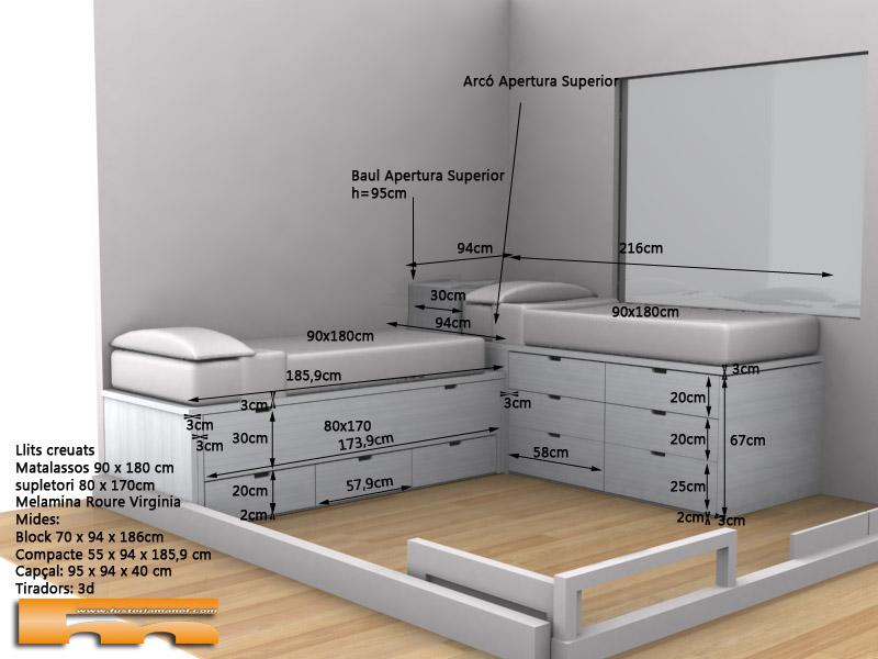 cama compacta a medida 9 cajones a 2 alturas cruzadas juvenil infantil 3d Olga Terrassa