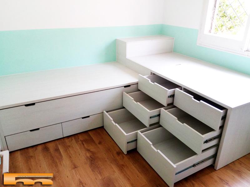 cama compacta a medida 9 cajones a 2 alturas cruzadas juvenil infantil Olga Terrassa