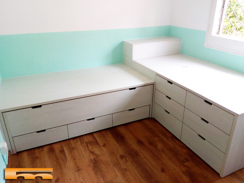 cama compacta a medida a 2 alturas cruzadas juvenil infantil Olga Terrassa