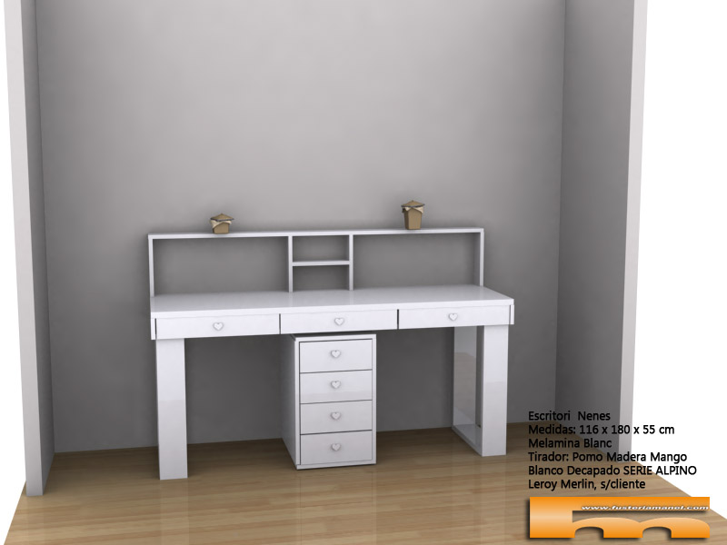 escritorio a medida de melamina estilo romantico 3d Pilar Barcelona