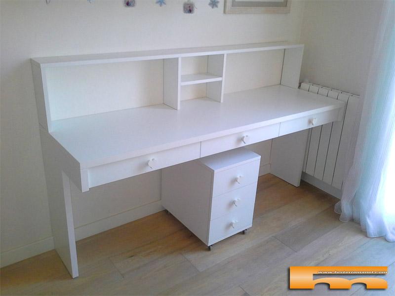 escritorio a medida de melamina estilo romantico Pilar Barcelona