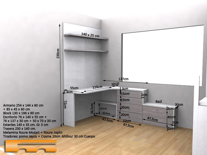 habitacion_infantil_juvenil_niño_armario cama y estudio 3d1_Elsa_Rubi