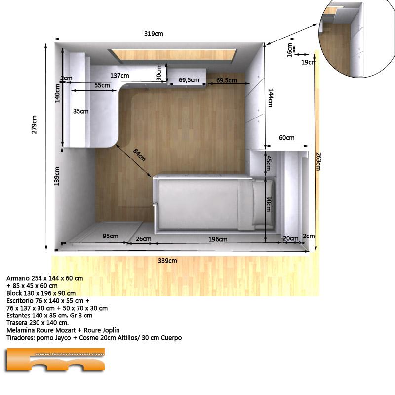 habitacion_infantil_juvenil_niño_armario cama y estudio_3d2_Elsa_Rubi