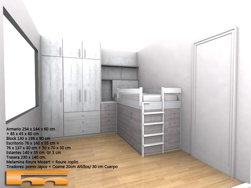 habitacion_infantil_juvenil_niño_armario cama y estudio_3d3_Elsa_Rubi