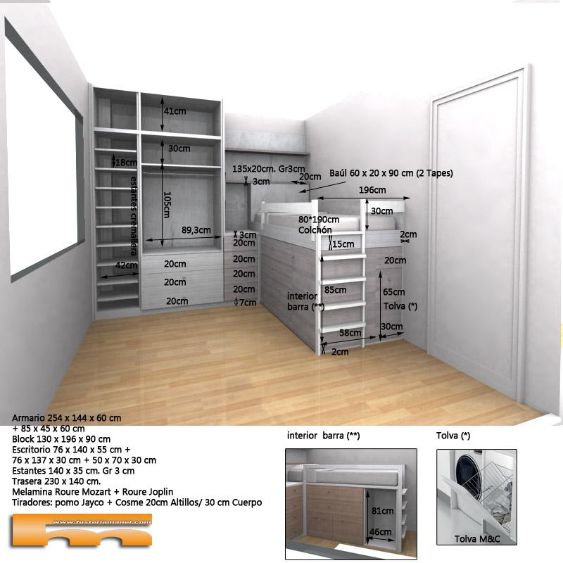 habitacion_infantil_juvenil_niño_armario cama y estudio_3dint_Elsa_Rubi