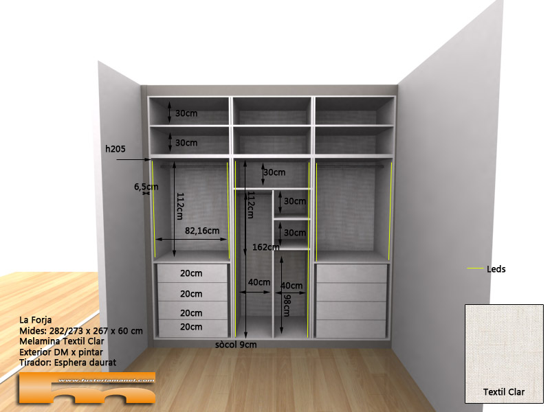 32d armario_empotrado_a_medida_moldura_Leds detalle1_dormitorio_Forja_Barcelona
