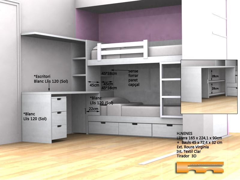 habitacion infantil litera integrada estudio 3d Montse Badalona