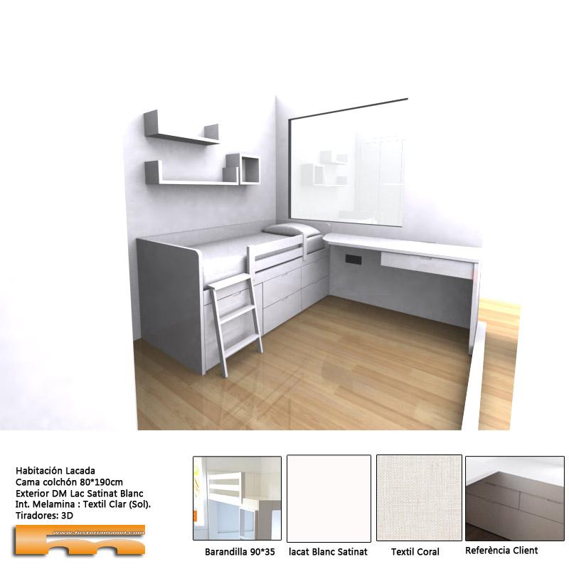 cama_compacta_a_medida_escritorio_lacada_habitación_infantil_decoracion_niño_Igraynne_SantcugatdelValles 3d