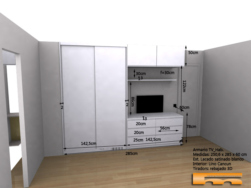 Armario lacado a medida con cómoda y altillo anexos 3d ext Gimena Barcelona