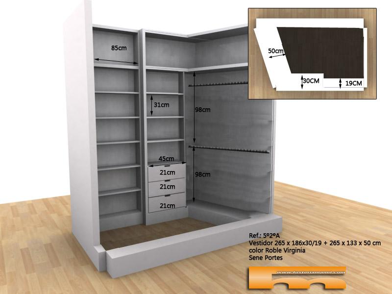 Vestidor sin puertas a medida con paredes de ángulo abierto a medida 3d Carla Sant Cugat Vallès
