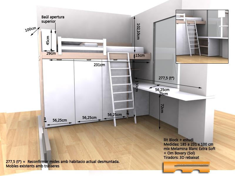 cama block a medida habitacion juvenil con estudio 3d Eva Barcelona