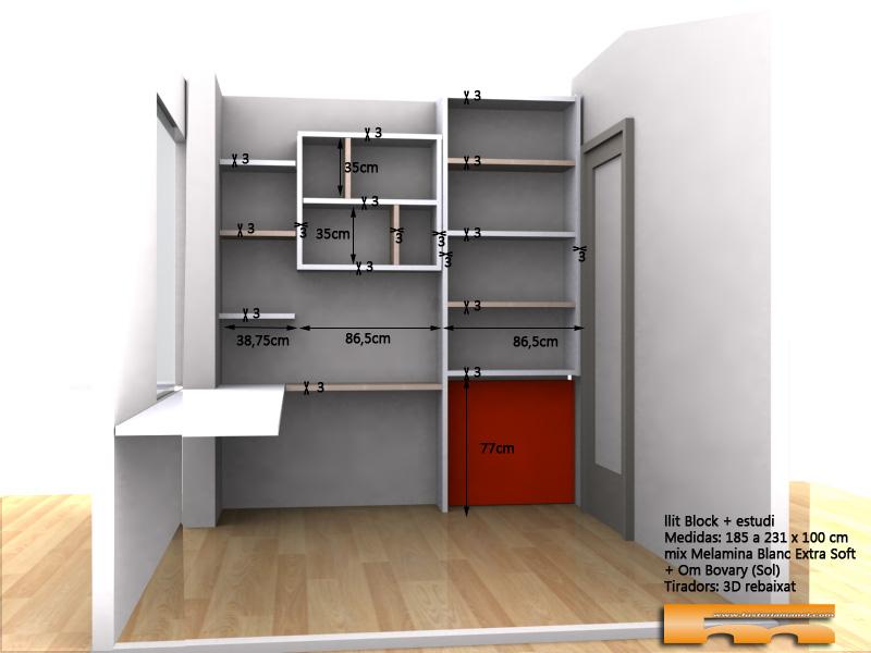 cama block a medida habitacion juvenil con estudio 3d estudio Eva Barcelona