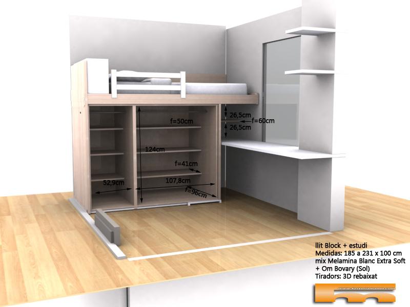 cama block a medida habitacion juvenil con estudio 3dint Eva Barcelona