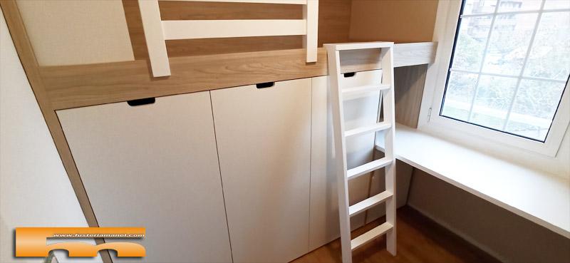 cama block a medida habitacion juvenil con estudio Eva Barcelona