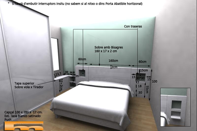 cabezal cama corrido a medida Nicoletta Barcelona 3d