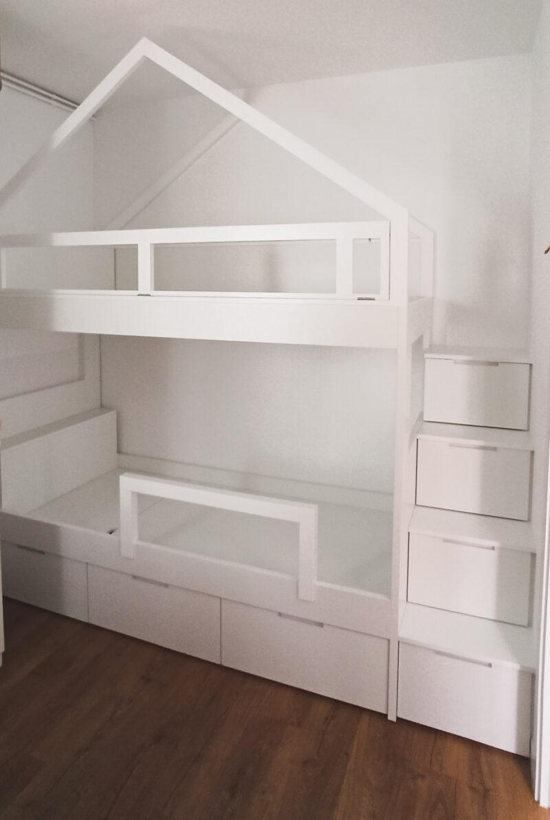Litera casita escalera cajones habitacion infantil decoración Alejandra Barcelona